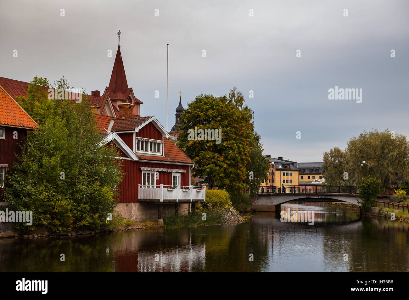 Old tow of Falun with traditional red Swedish wooden dwellings. Dalarna County, Sweden. - Stock Image
