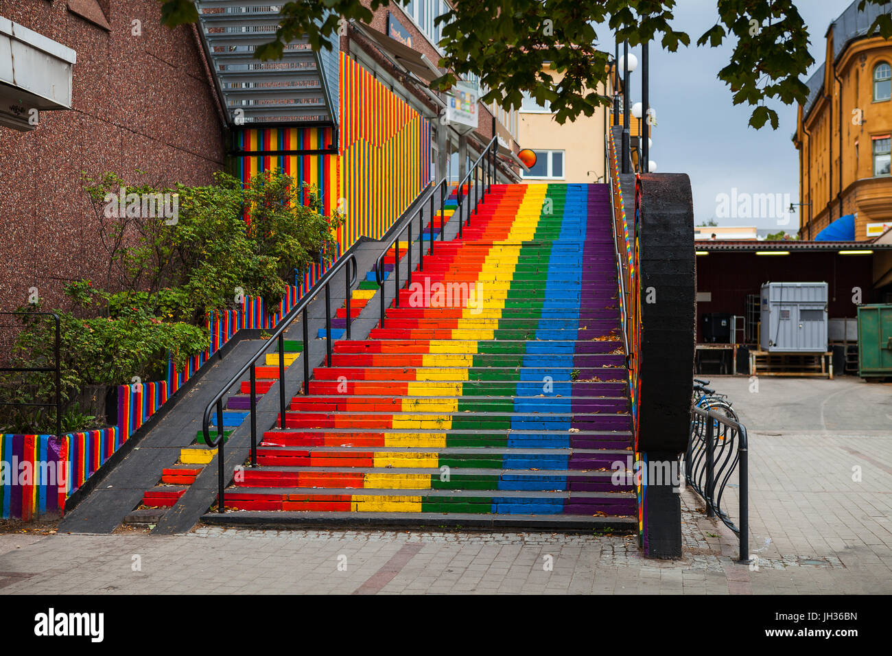Stairs Painted In Rainbow Gay Friendly 6 Colors Option Falun Sweden