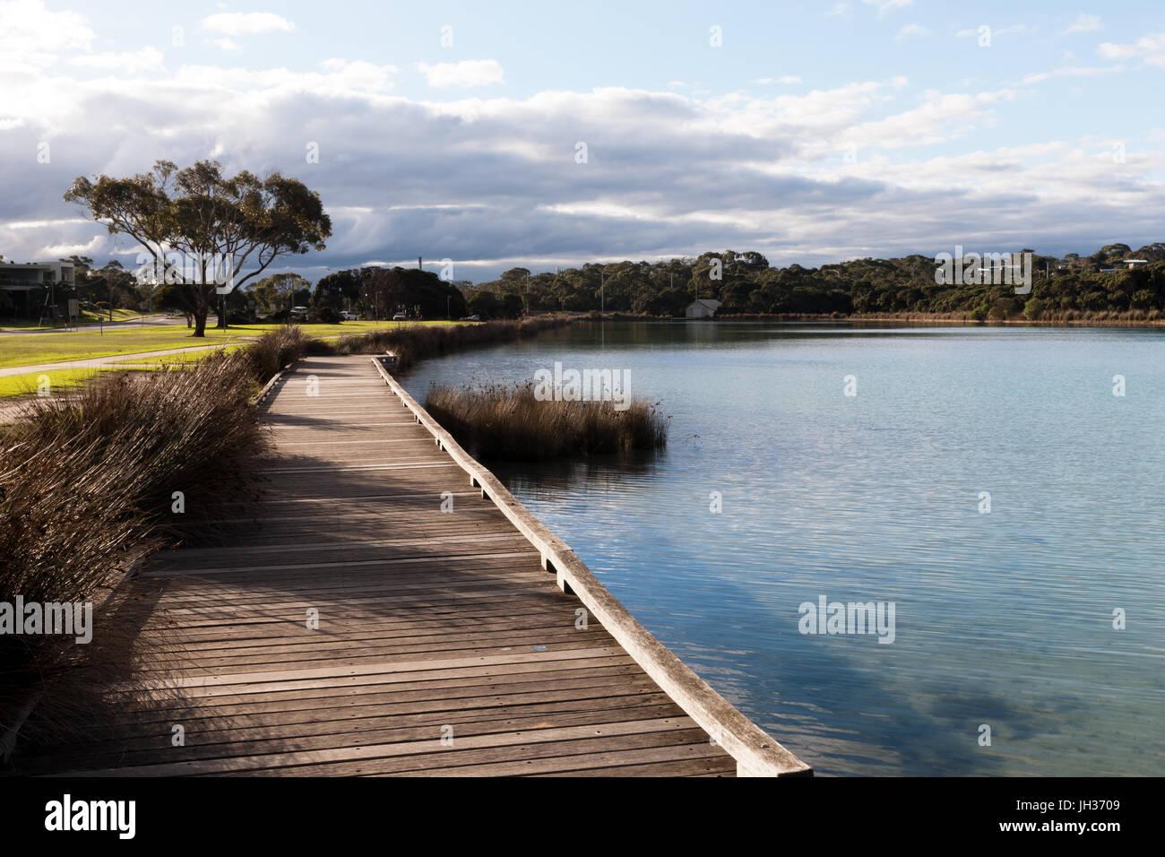 Estuarine lake and Boardwalk  Anglesea  on the Great Ocean Road, Victoria, Australia - Stock Image