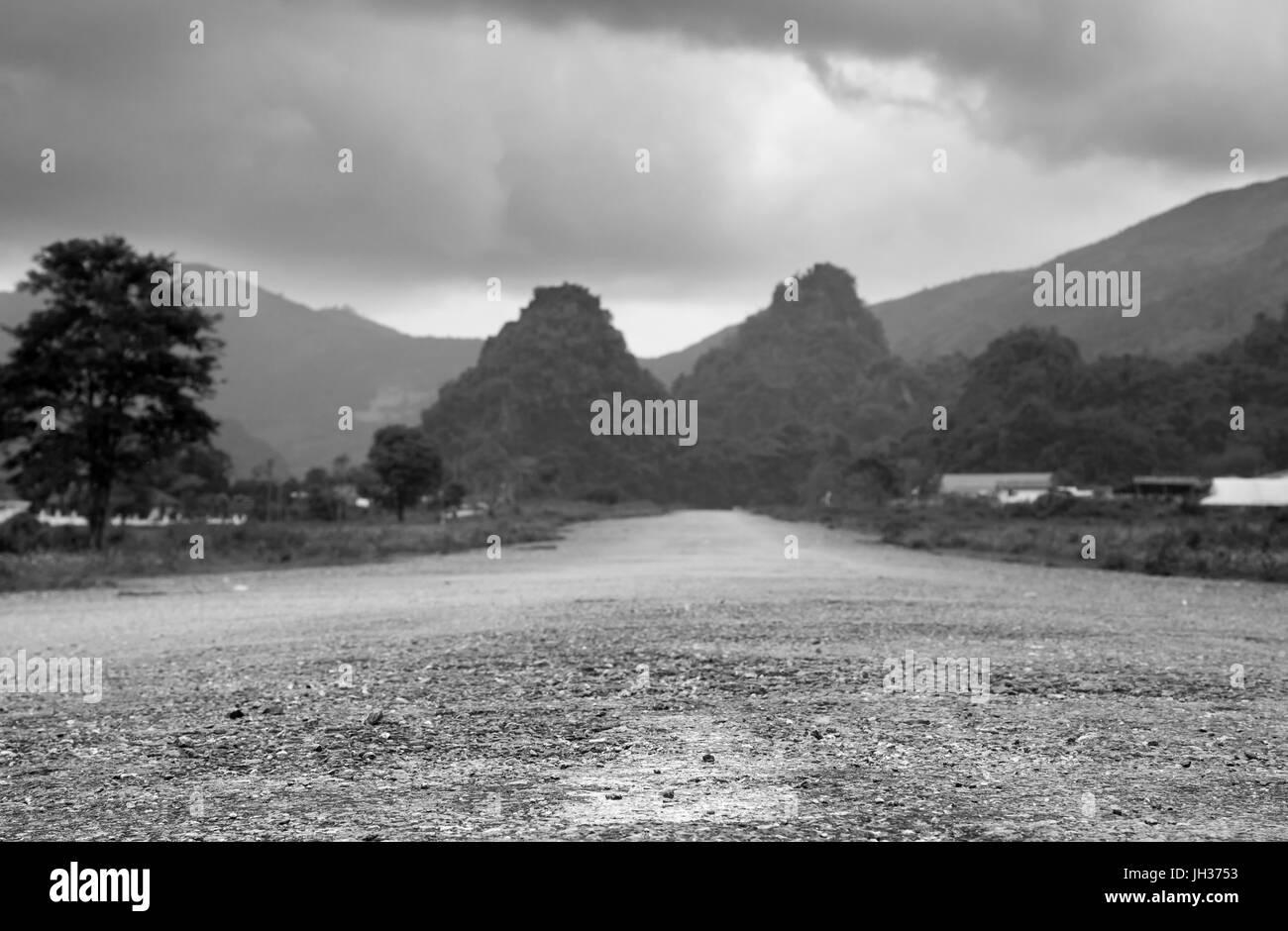 Present day Long Tieng, Laos, the main base for the CIA's Air America during the Vietnam War. Once described - Stock Image