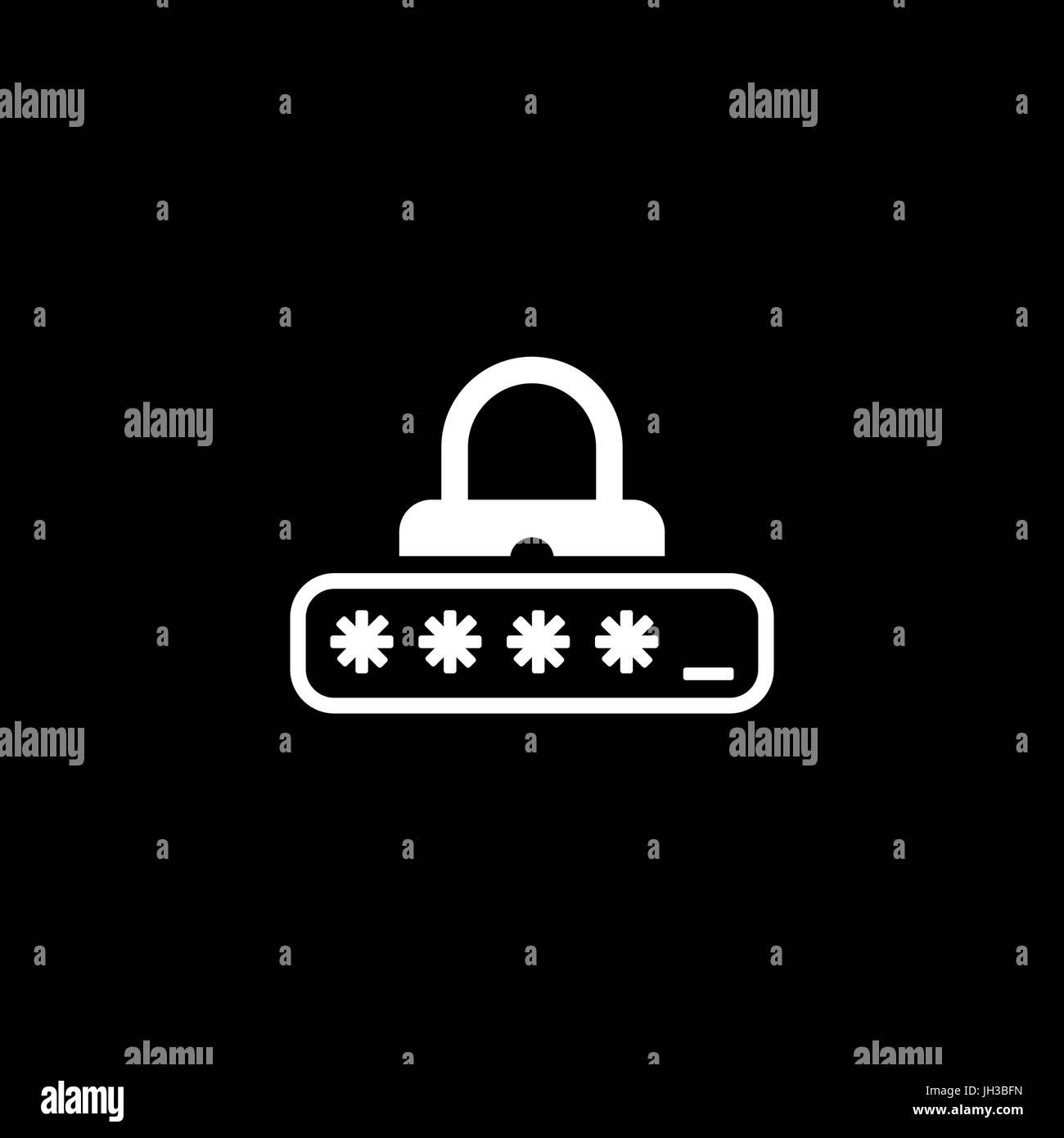 Password Protection Icon. Flat Design. - Stock Image
