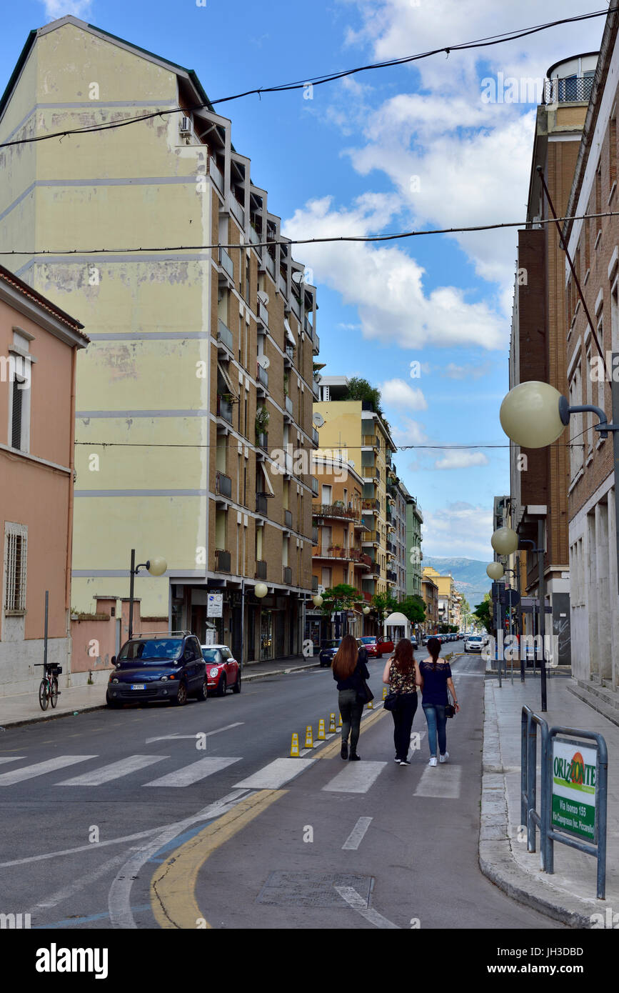Pedestrianized shopping zone in Mussolini founded city of Latina in the Lazio region of south-central Italy. - Stock Image