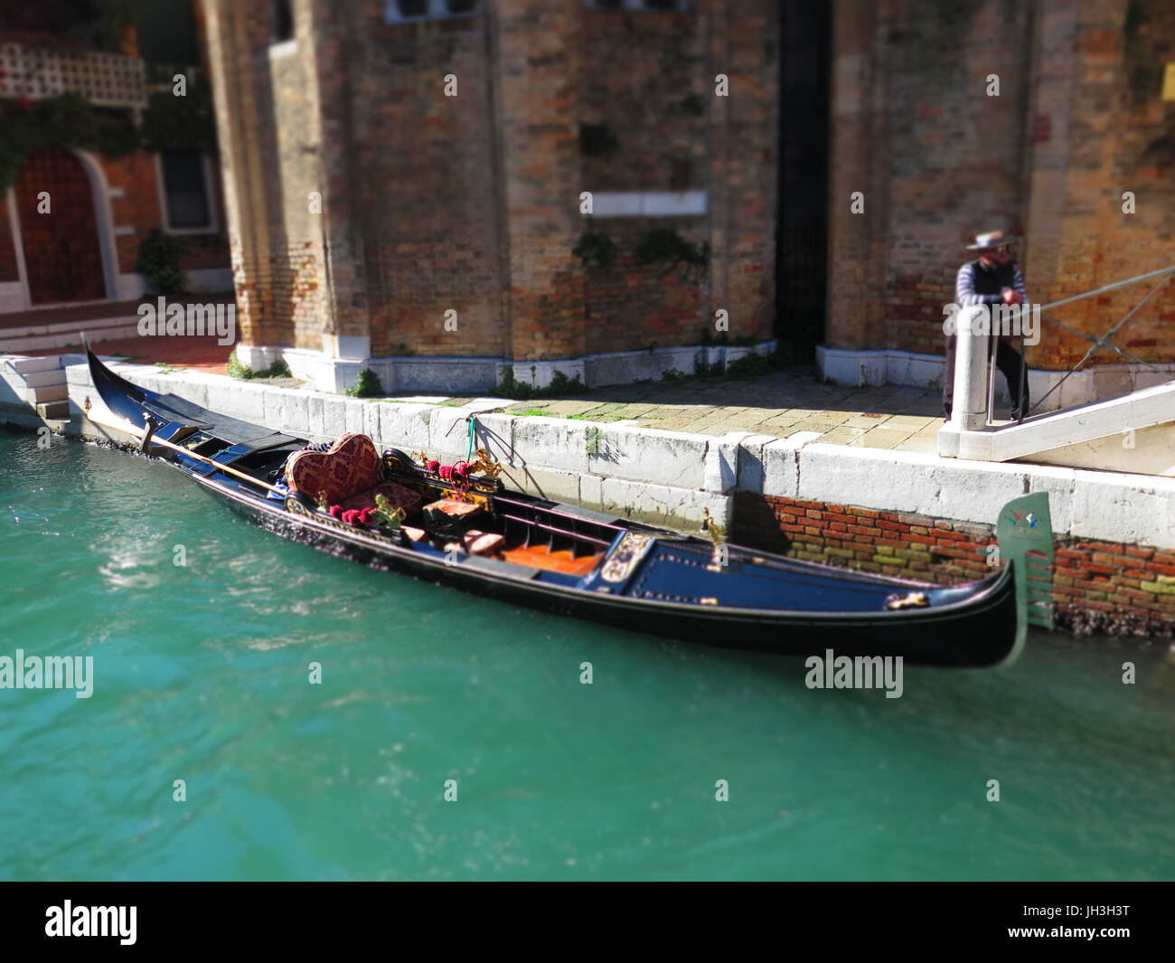 A Gondala in Venice using tilt and shift - Stock Image