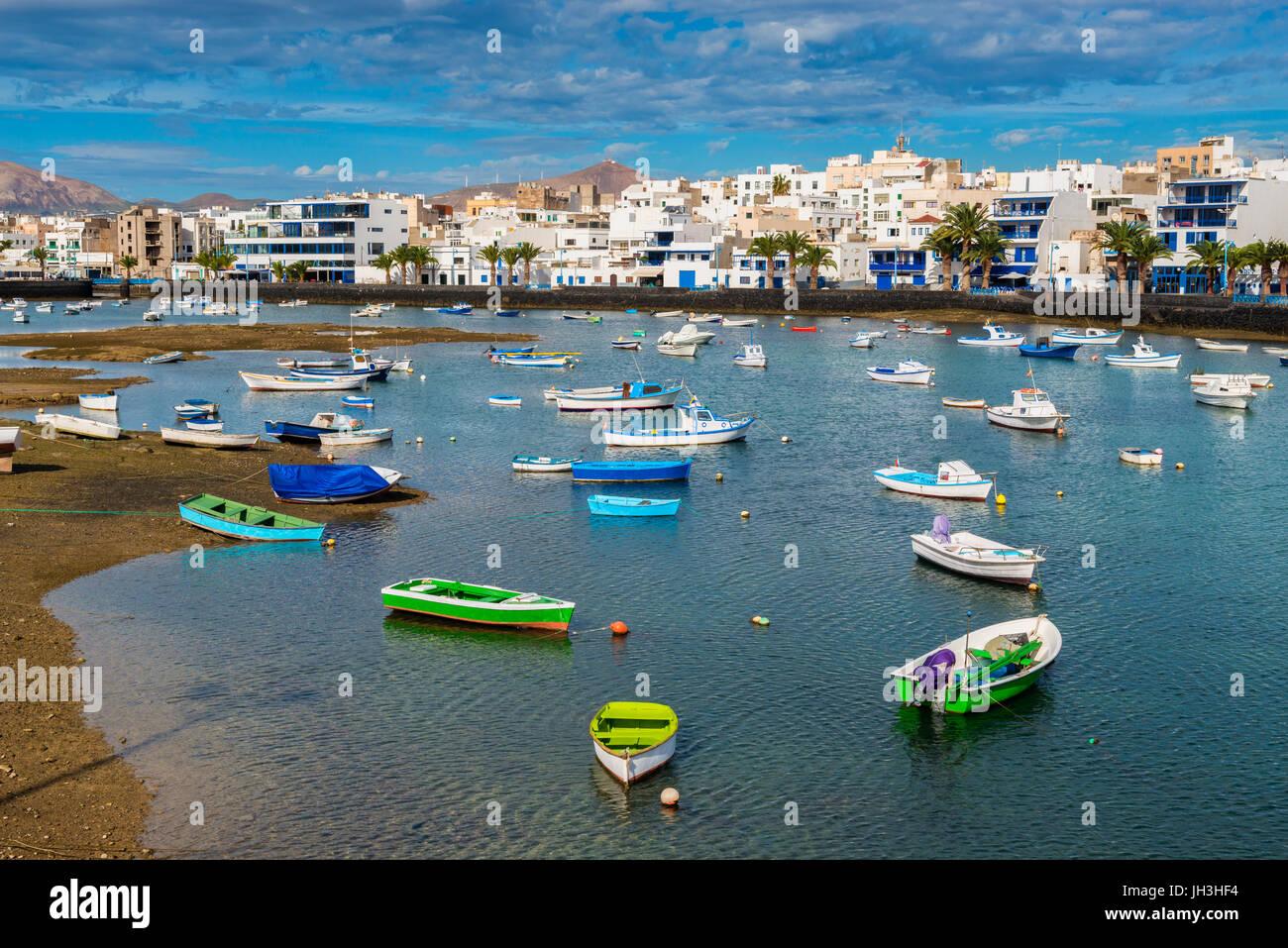 Recreational Boats in Harbor of Arrecife, Lanzarote, Canary Islands, Spain - Stock Image