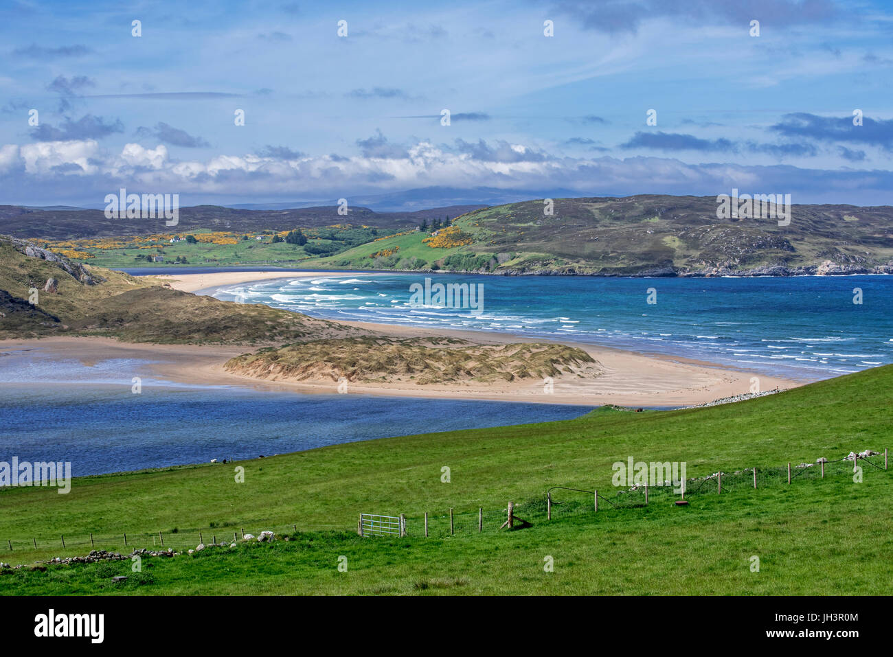 Torrisdale Bay and sandy beach at the mouth of the River Naver near Bettyhill and Invernaver, Caithness, Scottish - Stock Image
