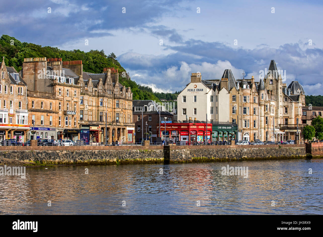Hotels and shops along the waterfront at Oban, Argyll and Bute, Scotland, UK - Stock Image
