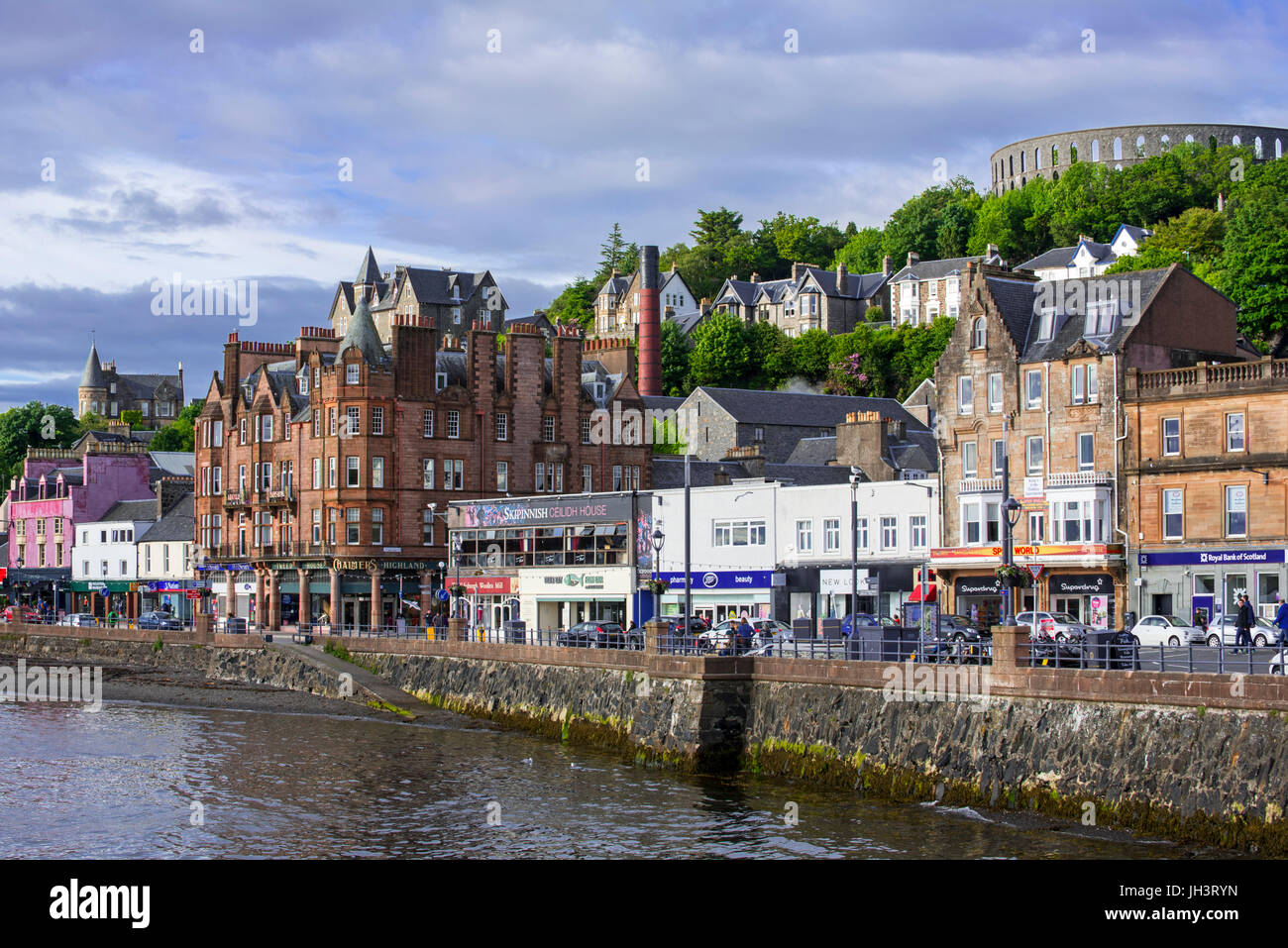 Restaurants and shops along the waterfront at Oban, Argyll and Bute, Scotland, UK - Stock Image