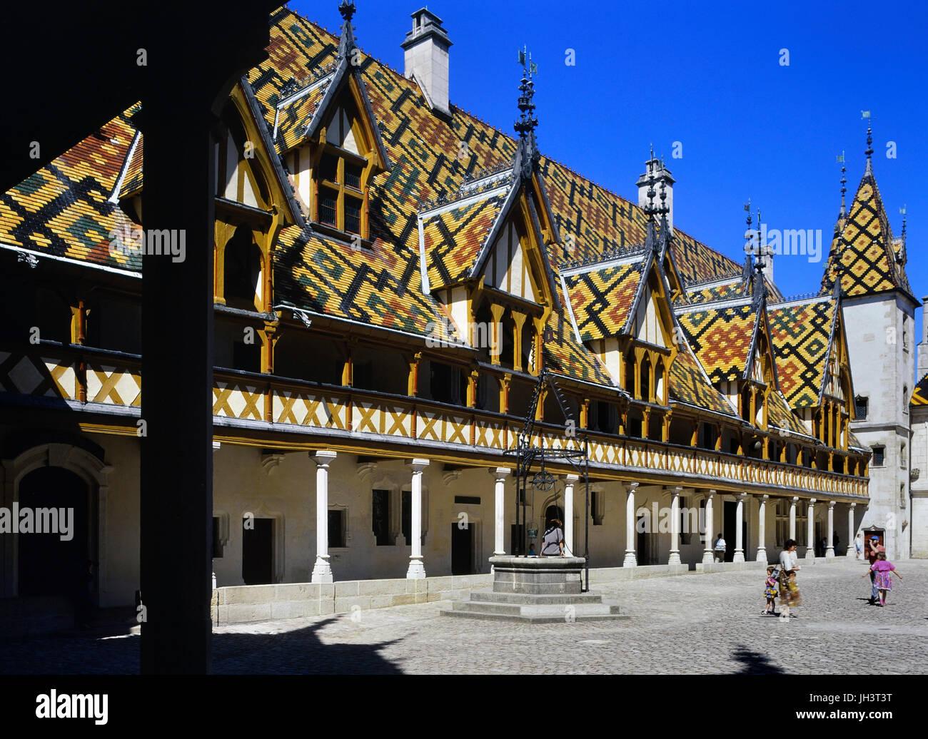 The Hospices de Beaune or Hôtel-Dieu de Beaune, Beaune, Burgundy, France - Stock Image