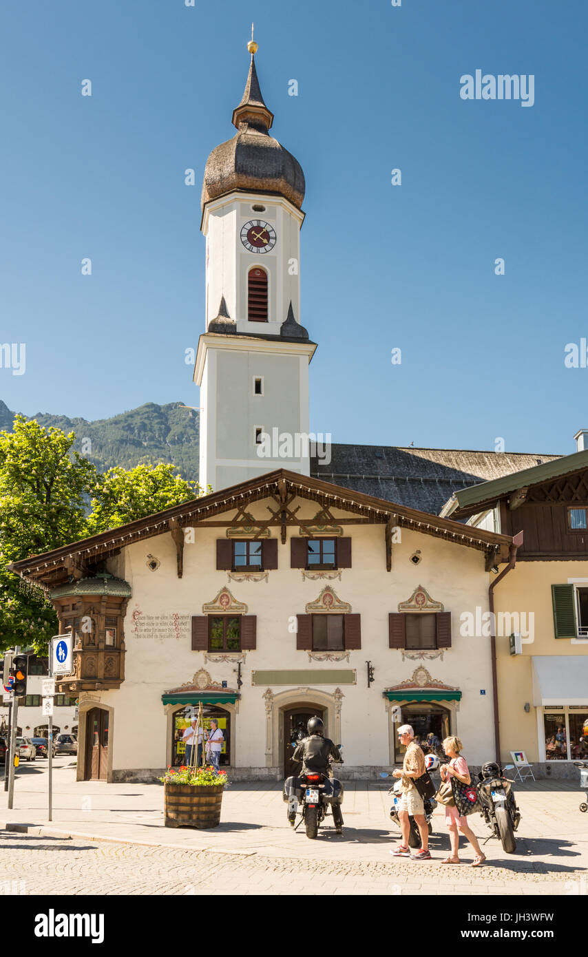GARMISCH, GERMANY - MAY 26: People at the church of Garmisch, Germany on May 26, 2016. - Stock Image