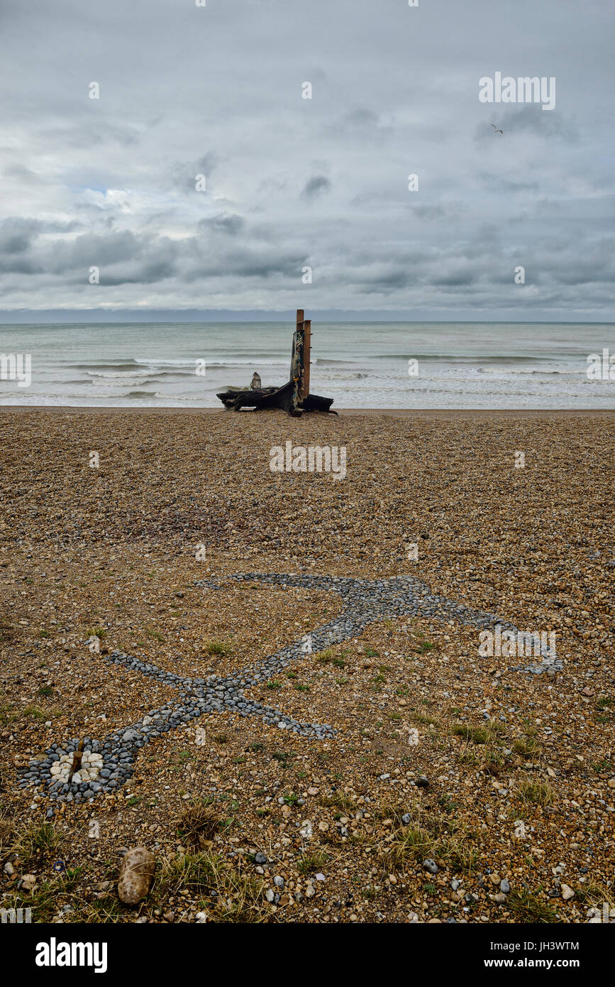 The remains of a fishing boat on the stade beach, Old town, Hastings, Sussex, England, UK - Stock Image