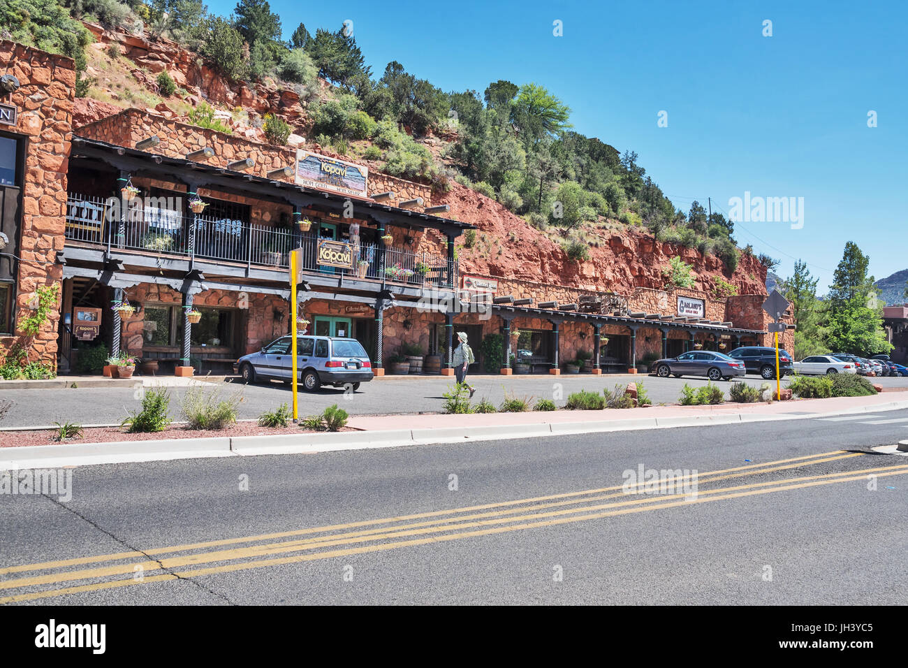 Extraordinary shopping complex in the rock, Sedona, Arizona, USA - Stock Image
