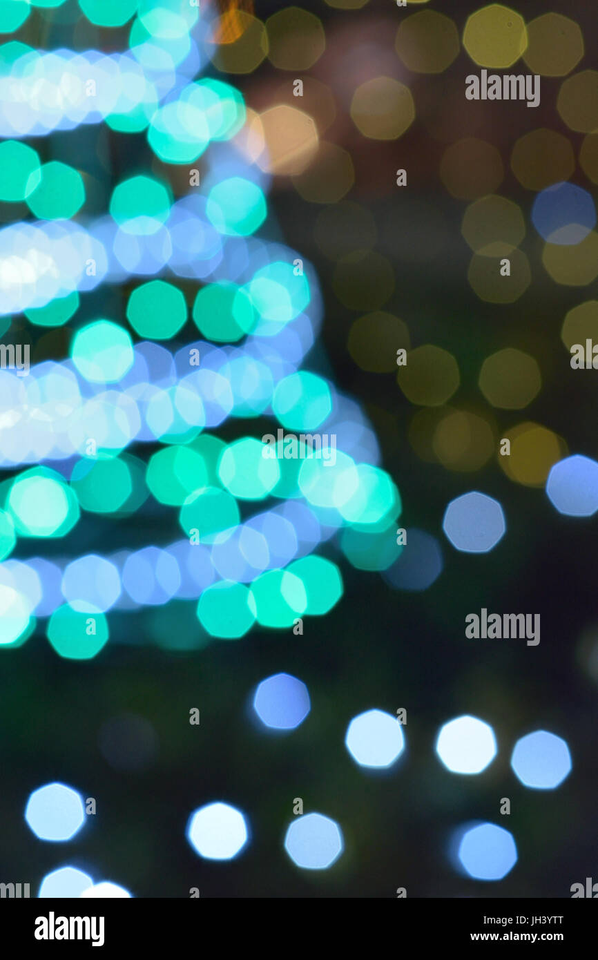 Abstract blur texture of colorful Christmas lights background - Stock Image