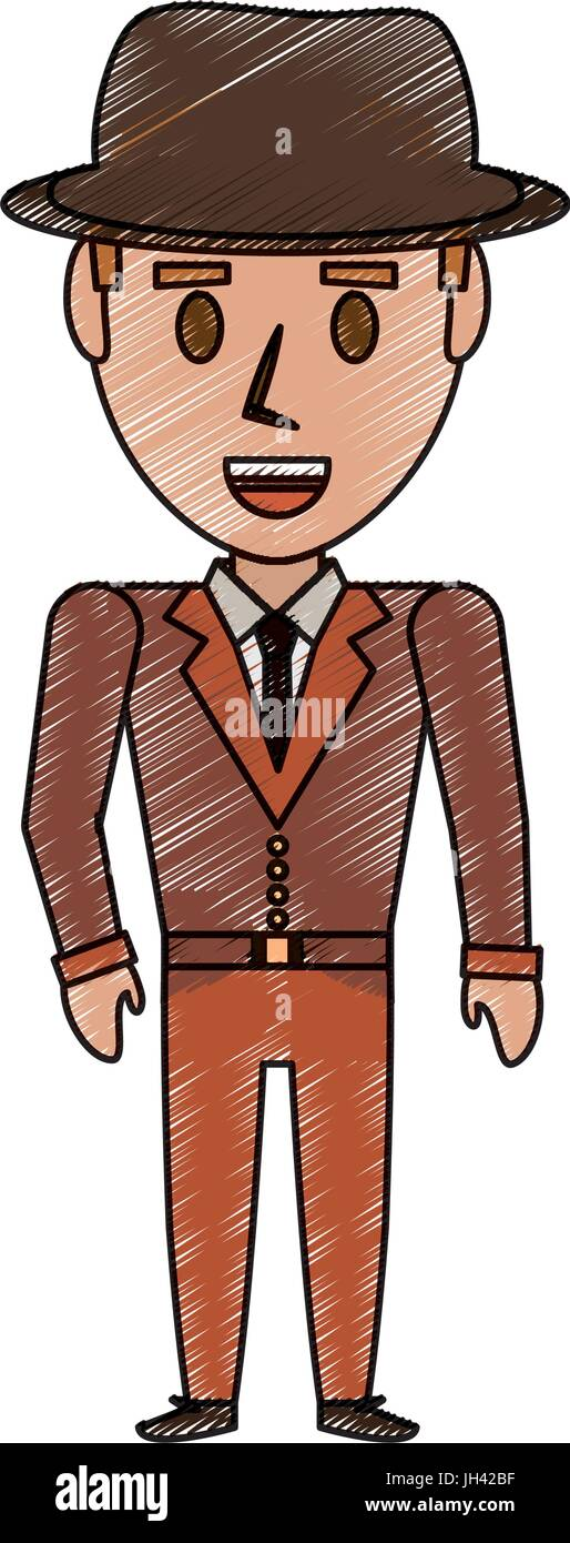 Retro Man cartoon icon vector illustration graphic design - Stock Image
