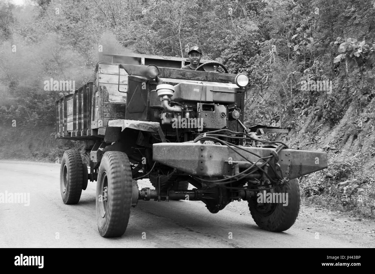 Vintage truck still in widespread use today in Myanmar. Modified from a WW2 ex British armyCanadian Military - Stock Image