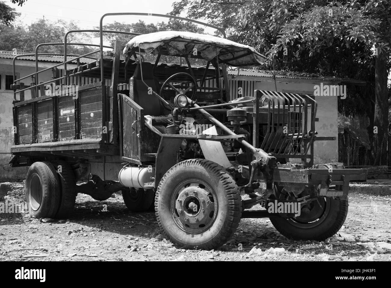 Vintage truck still in widespread use today in Myanmar. Modified from a WW2 ex British army Canadian Military Pattern Stock Photo