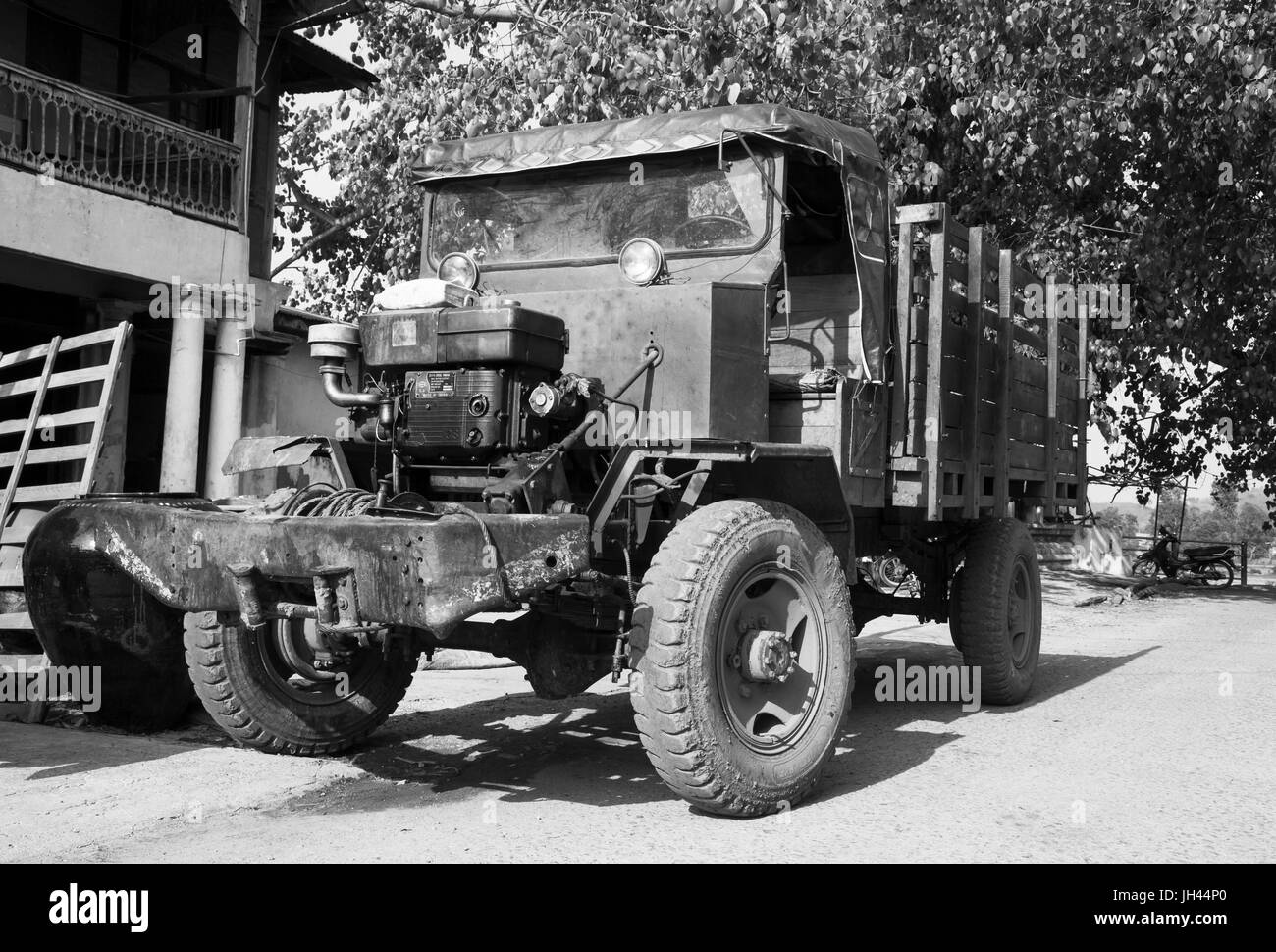 Vintage truck still in widespread use today in Myanmar. Modified from a WW2 ex British army Canadian Military - Stock Image
