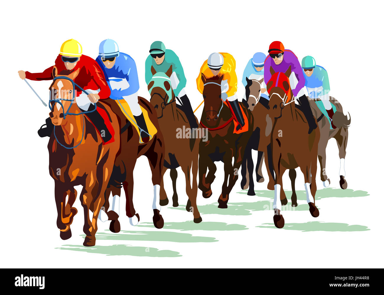 Racehorses with jockeys on the race track - Stock Image