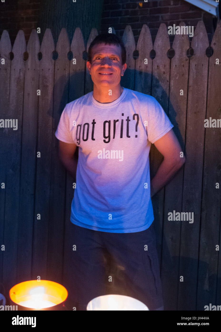 "Merrick, New York, USA. 11th June 2017.  Contestant CHRIS EDOM (wearing white ""GOT GRIT?"" T-shirt), 48, of Merrick, Stock Photo"