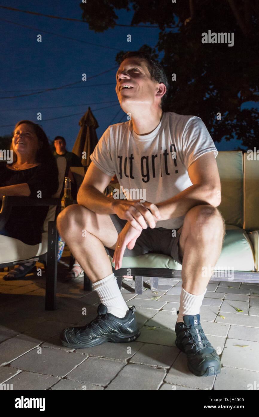 "Merrick, New York, USA. 11th June 2017.  CHRIS EDOM, ""American Grit"" TV series contestant, 48, of Merrick, wears Stock Photo"