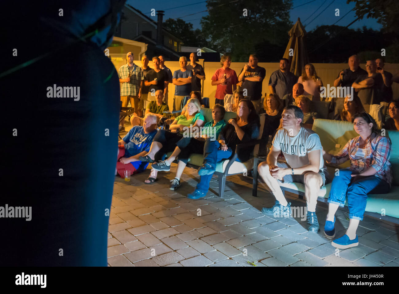 "Merrick, New York, USA. 11th June 2017.  ""American Grit"" TV contestant CHRIS EDOM (at bottom right, wearing white Stock Photo"
