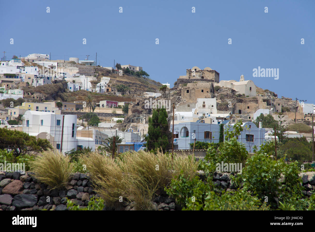 Das Dorf Akrotiri, Santorin, Kykladen, Aegaeis, Griechenland, Mittelmeer, Europa | The village Akrotiri, Santorini, - Stock Image