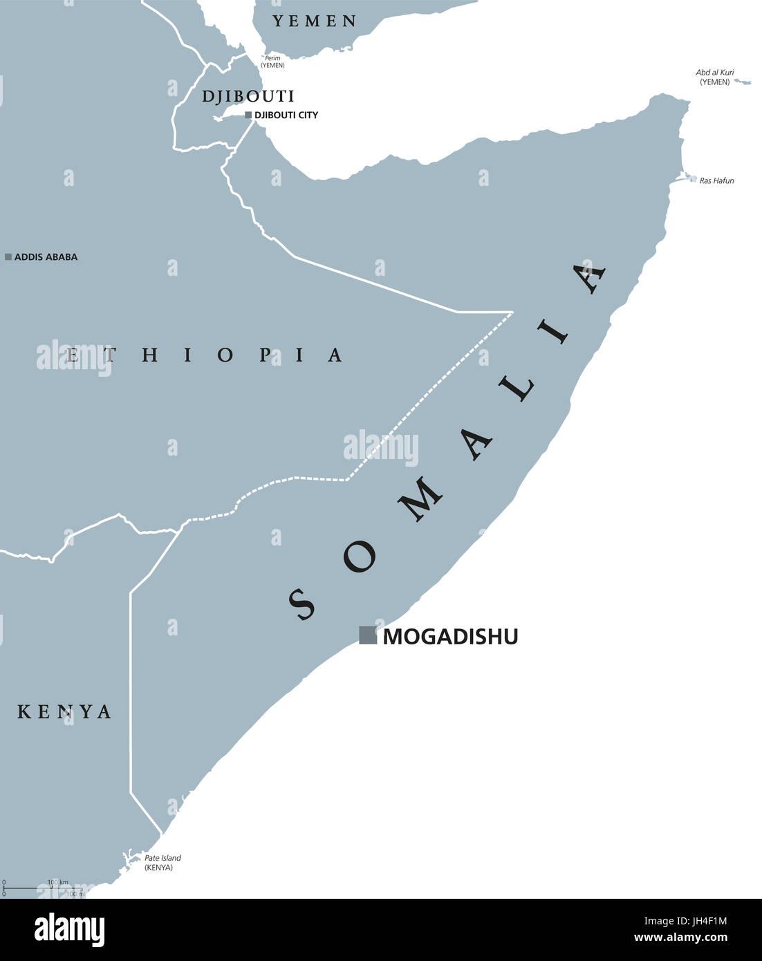 Mogadishu Africa Map.Somalia Political Map With Capital Mogadishu Federal