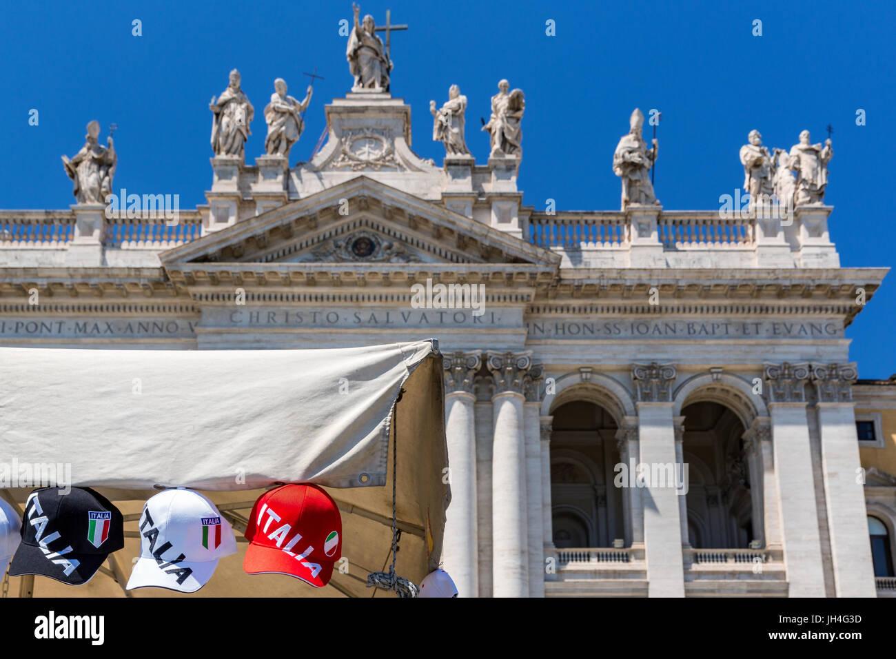Italian baseball caps in front of Archbasilica of St. John Lateran (Arcibasilica Papale di San Giovanni in Laterano), - Stock Image