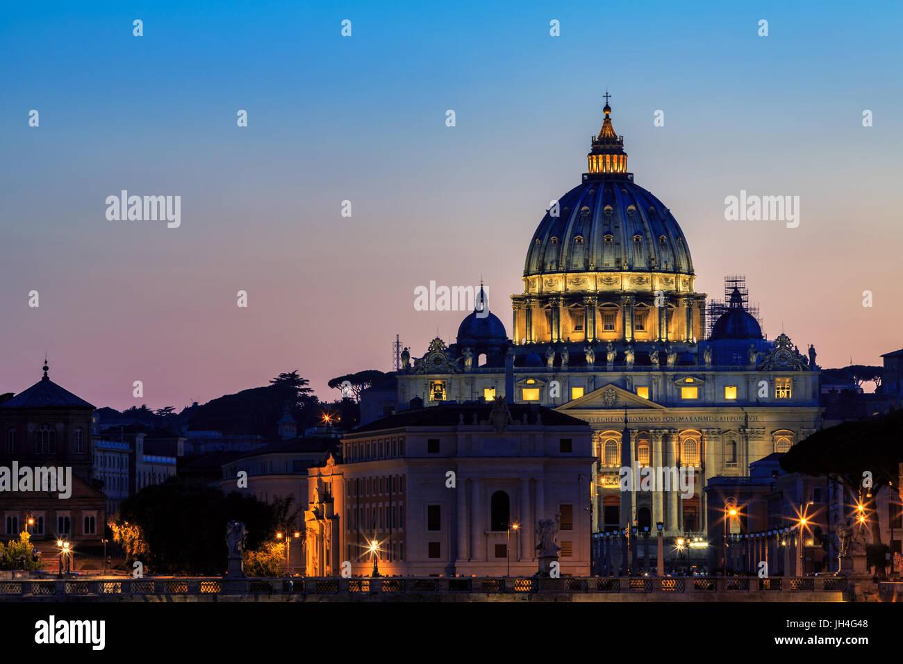 Saint Peter's Basilica at sunset, Rome, Italy - Stock Image