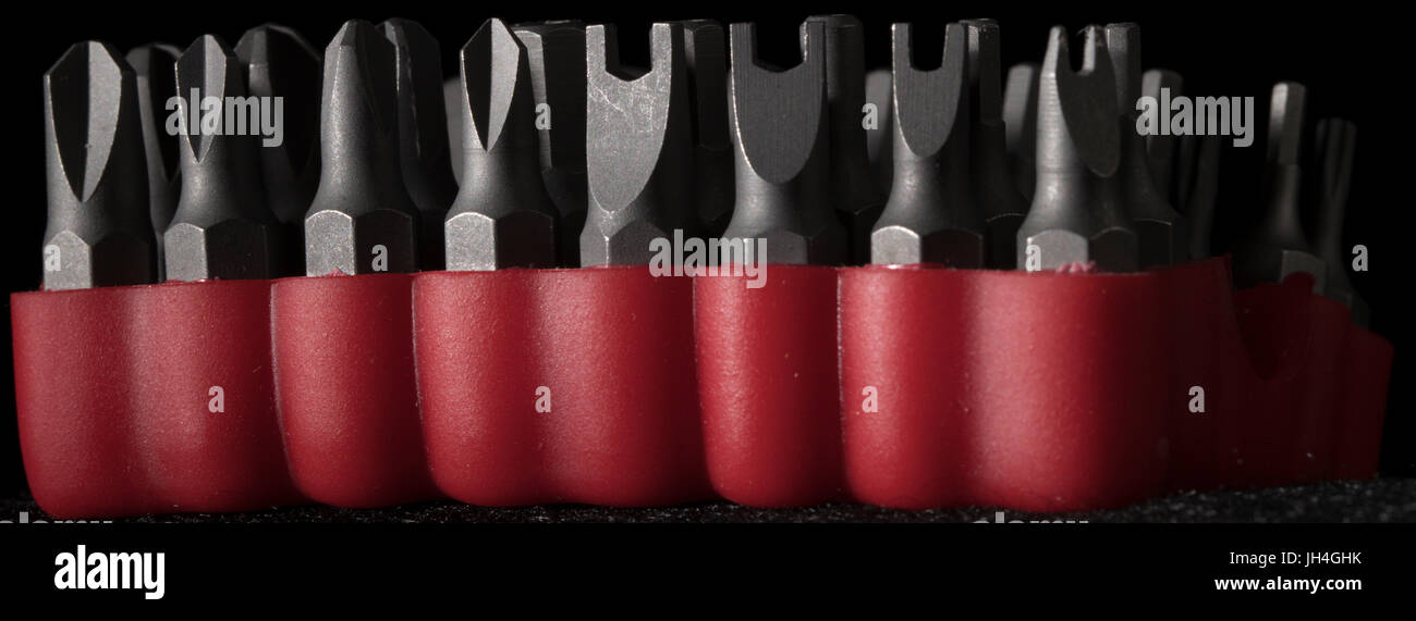 assorted toolbits tool bits for screws and fasteners - Stock Image