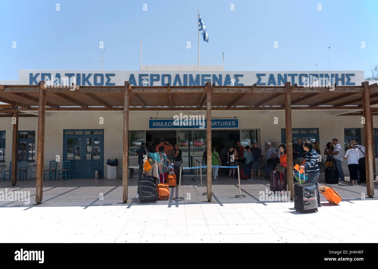 Flughafen Santorin, Kykladen, Aegaeis, Griechenland, Mittelmeer, Europa | Airport of Santorini, Cyclades, Greece, - Stock Image