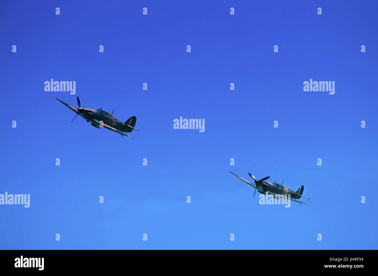 RAF Hurricane and Spitfire Soar Walmer 2017 - Stock Image