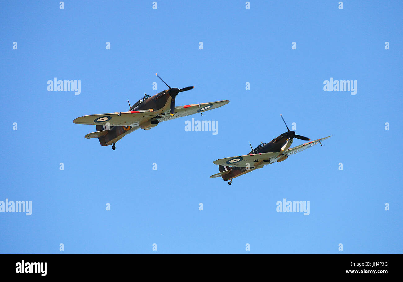RAF Hurricane and Spitfire climb Walmer 2017 - Stock Image