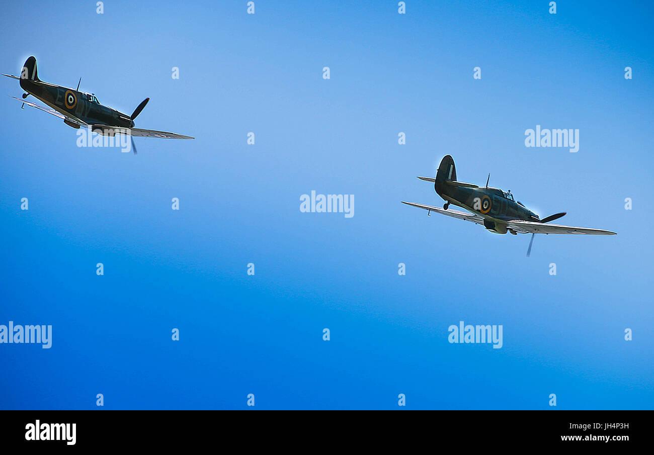 RAF Hurricane and Spitfire Dive Walmer 2017 - Stock Image