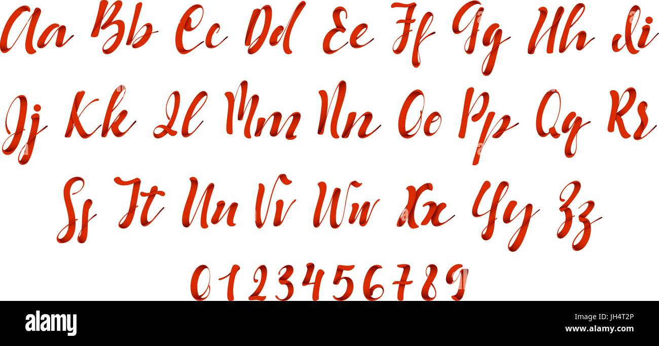 Latin Alphabet Red Letter Font Style Ribbon