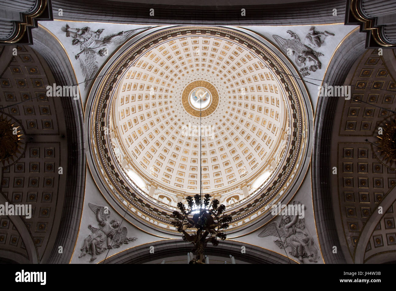 Cathedral dome with angels in Puebla Mexico - Stock Image