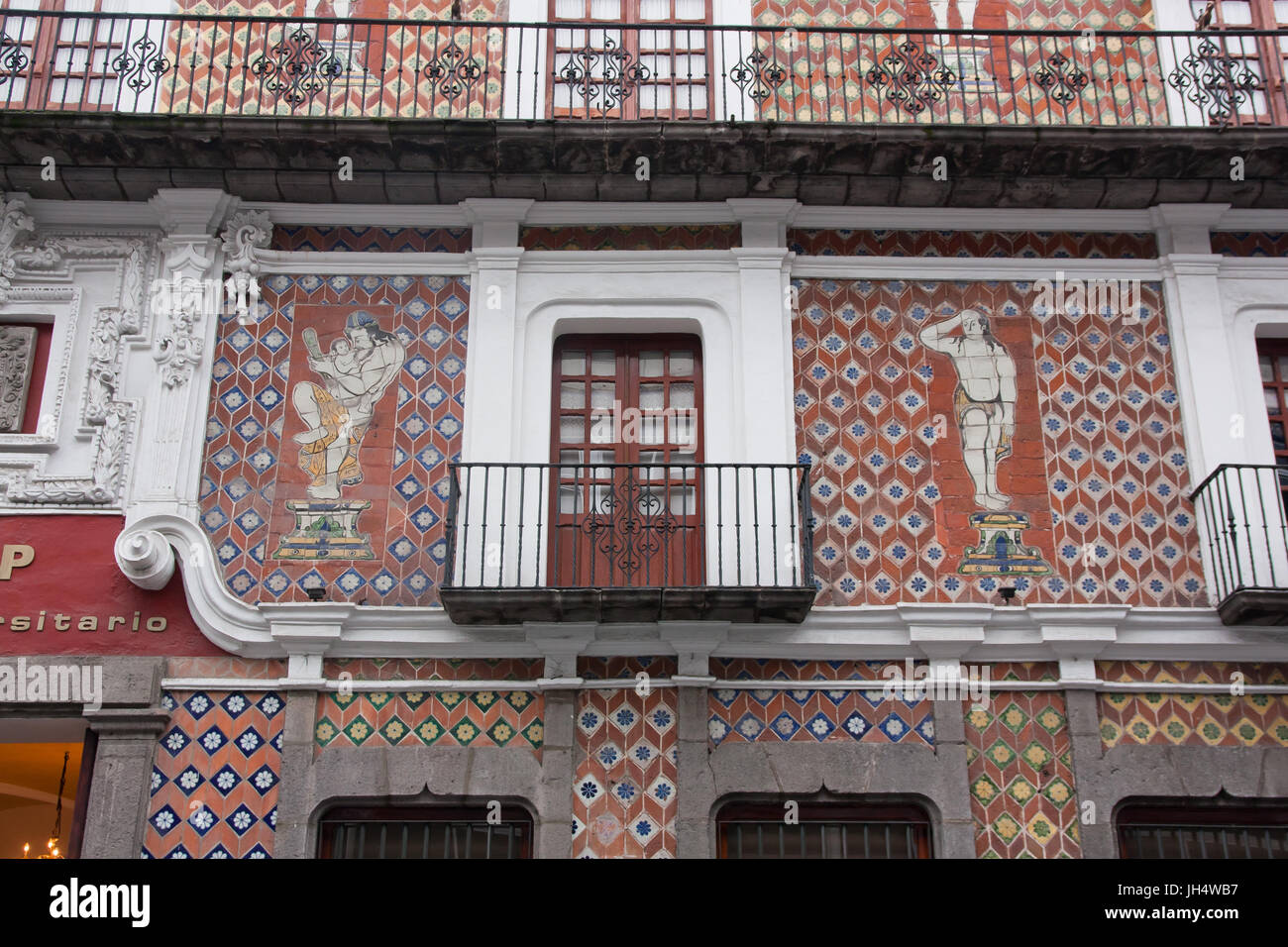 classic facade in Puebla University building - Stock Image