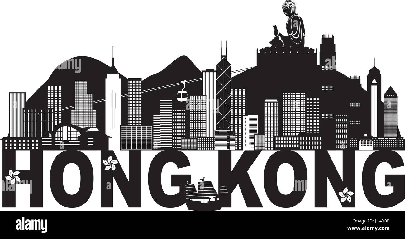 Hong Kong City Skyline and Big Buddha Statue Panorama Black Abstract Text Isolated on White Background Illustration - Stock Vector
