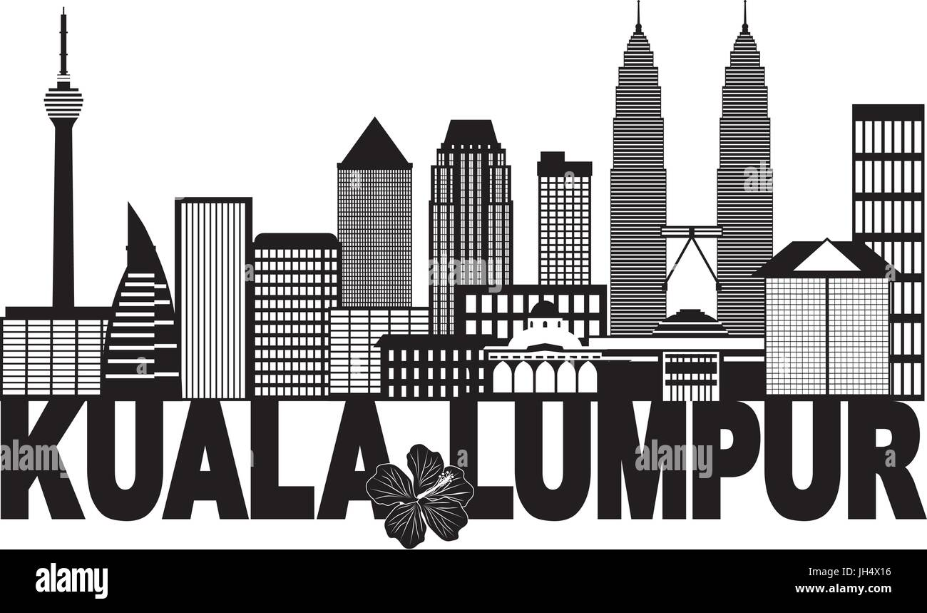 Kuala Lumpur Malaysia City Skyline Text State Flower Hibiscus Black Isolated on White Background Illustration - Stock Vector
