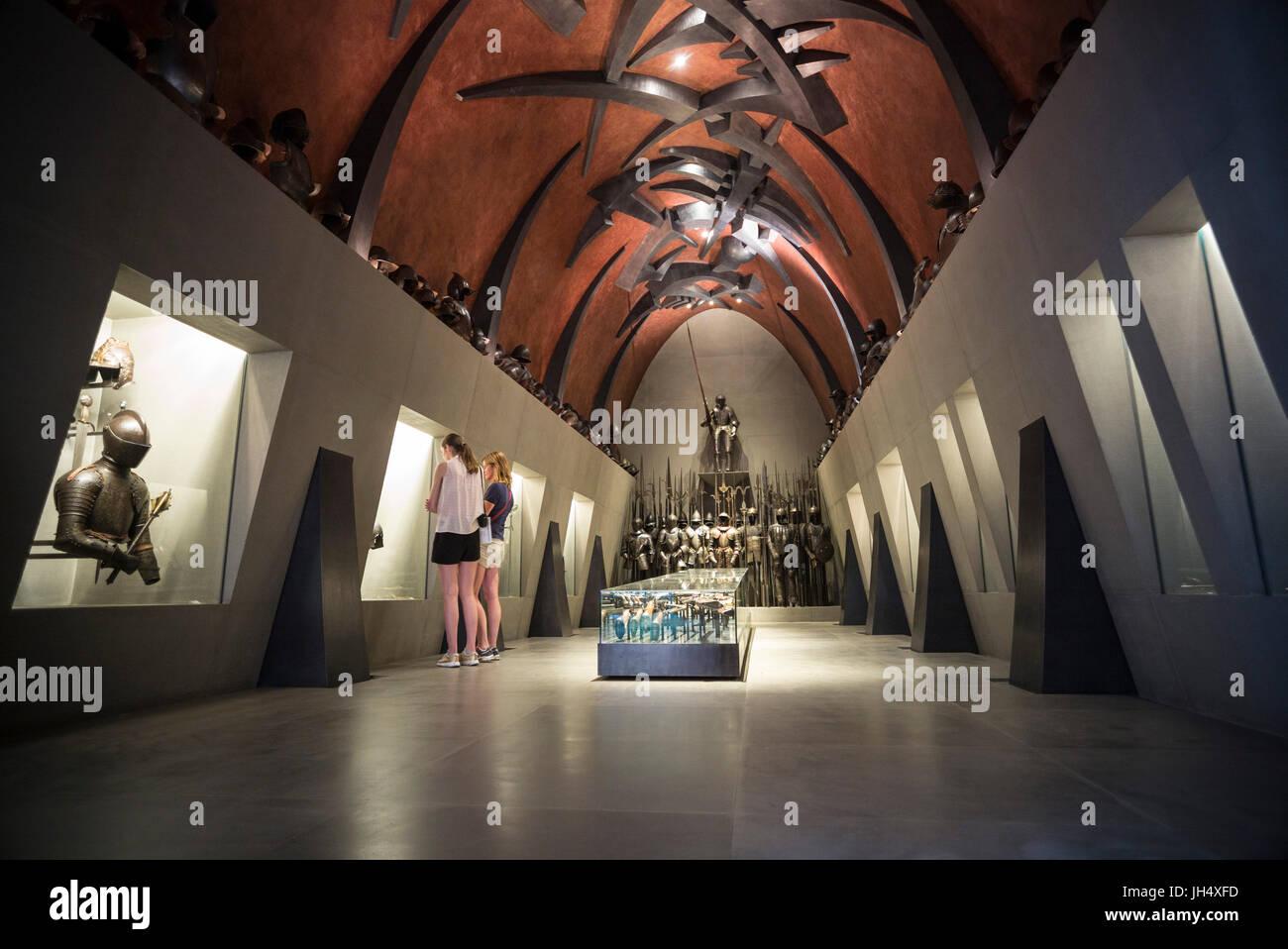Milan. Italy. Museo Poldi Pezzoli Museum, the Armoury Hall, by Italian contemporary artist Arnaldo Pomodoro, 1998 - Stock Image