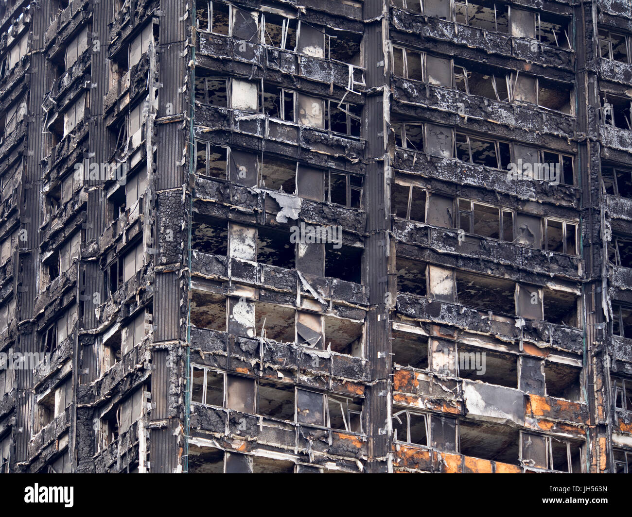 London, UK - Jul 4, 2017: Close up view of the Grenfell Tower block in which at least 80 people are thought to have - Stock Image