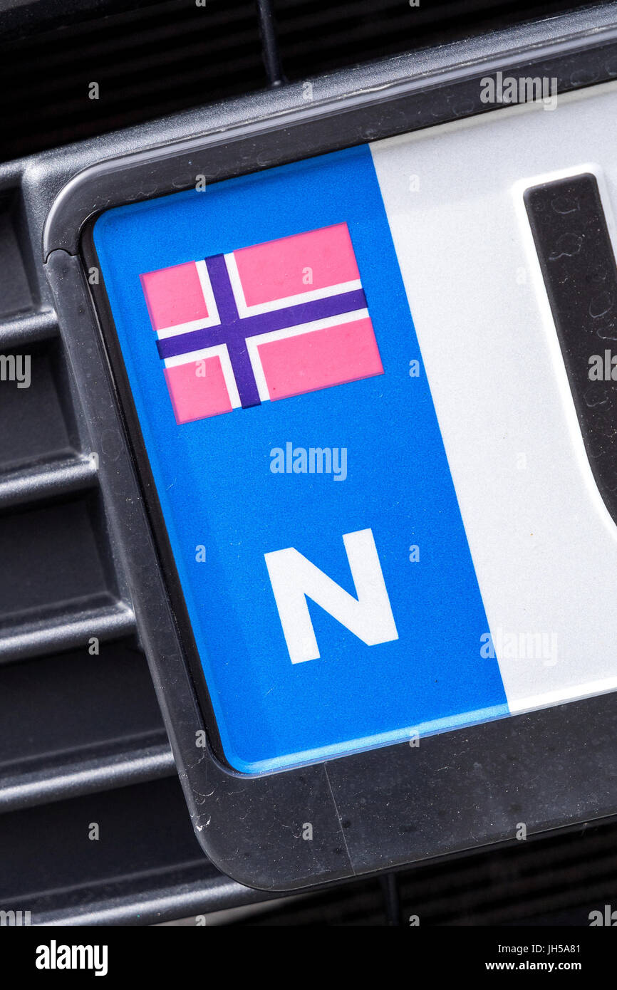 Country Identifier Of Car Registration Plate Norway Stock Photo