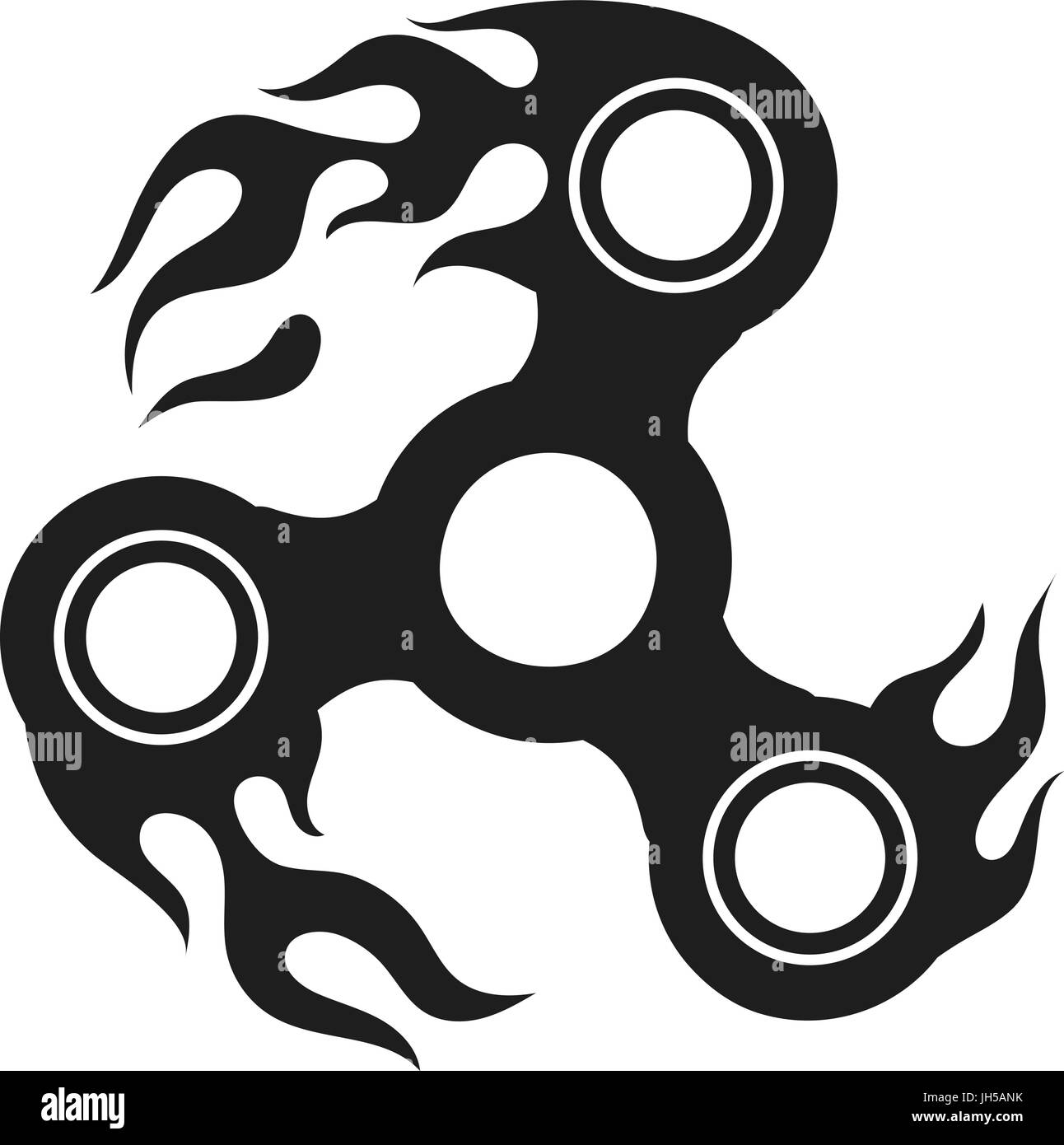 Flaming fidget hand spinner silhouette, vector illustration - Stock Image