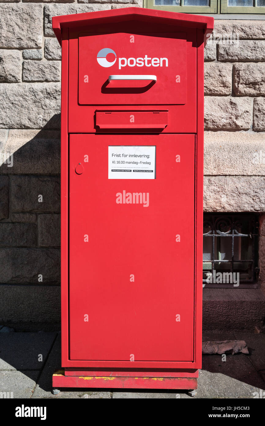 Posten Mailbox. Posten Norge is the name of the Norwegian postal service. - Stock Image