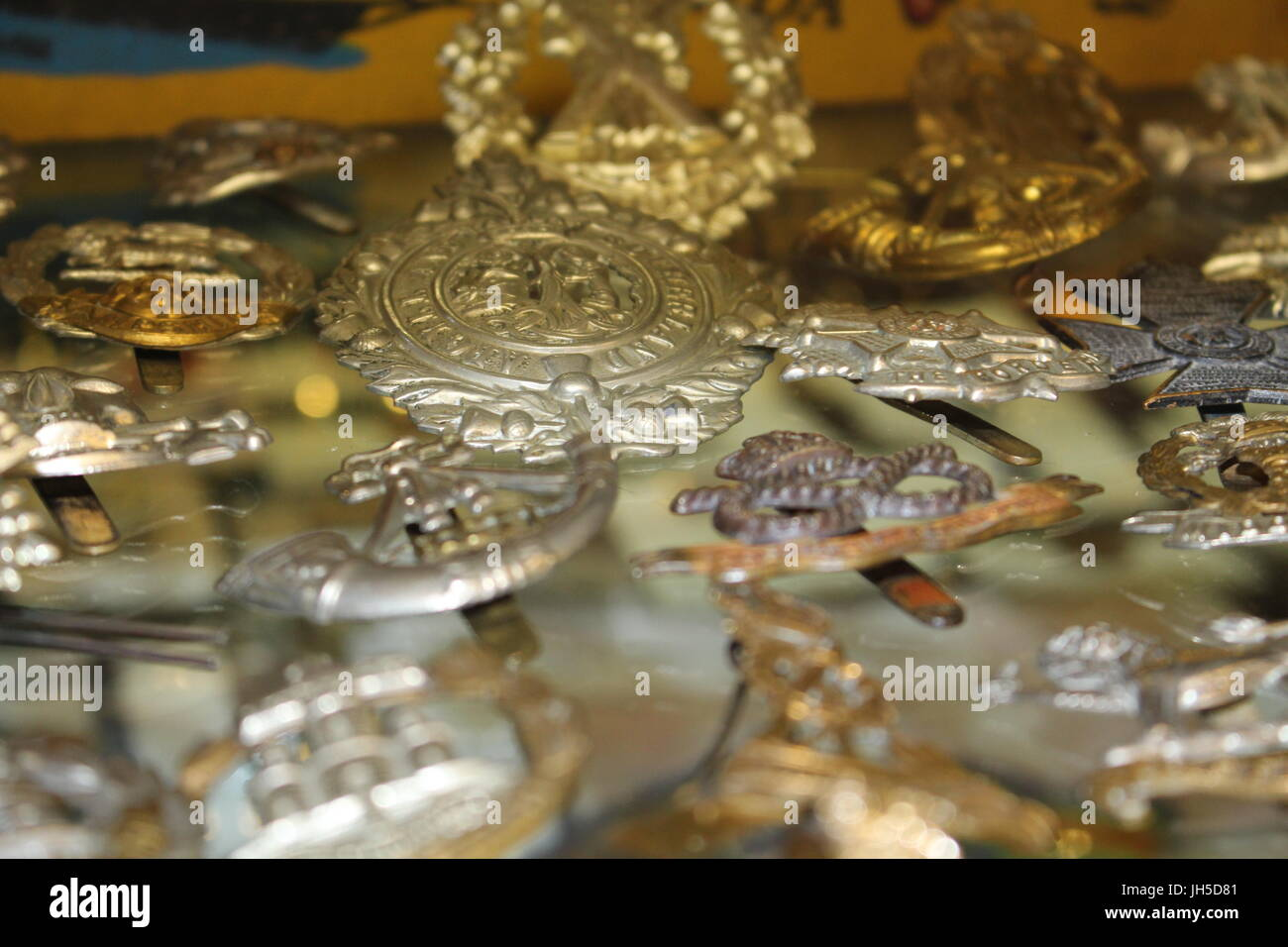 collection of medals, collection of badges, antiques, antique items, collectable items, military paraphernalia - Stock Image