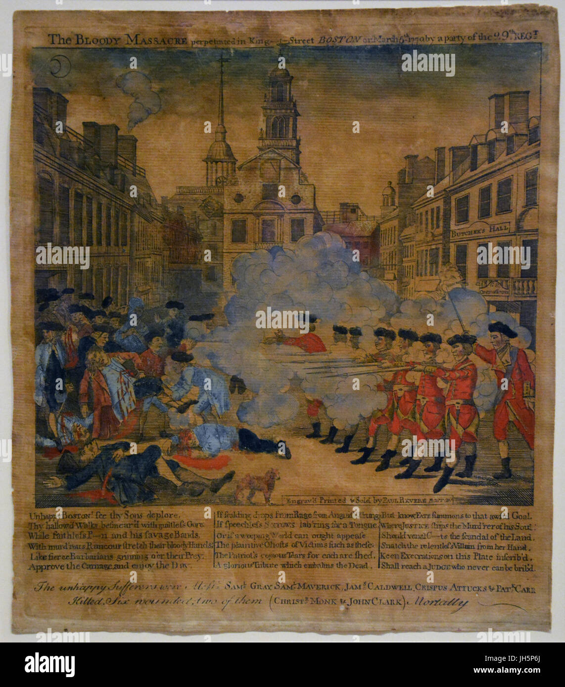 Yellowed copy of Paul Revere's engraving