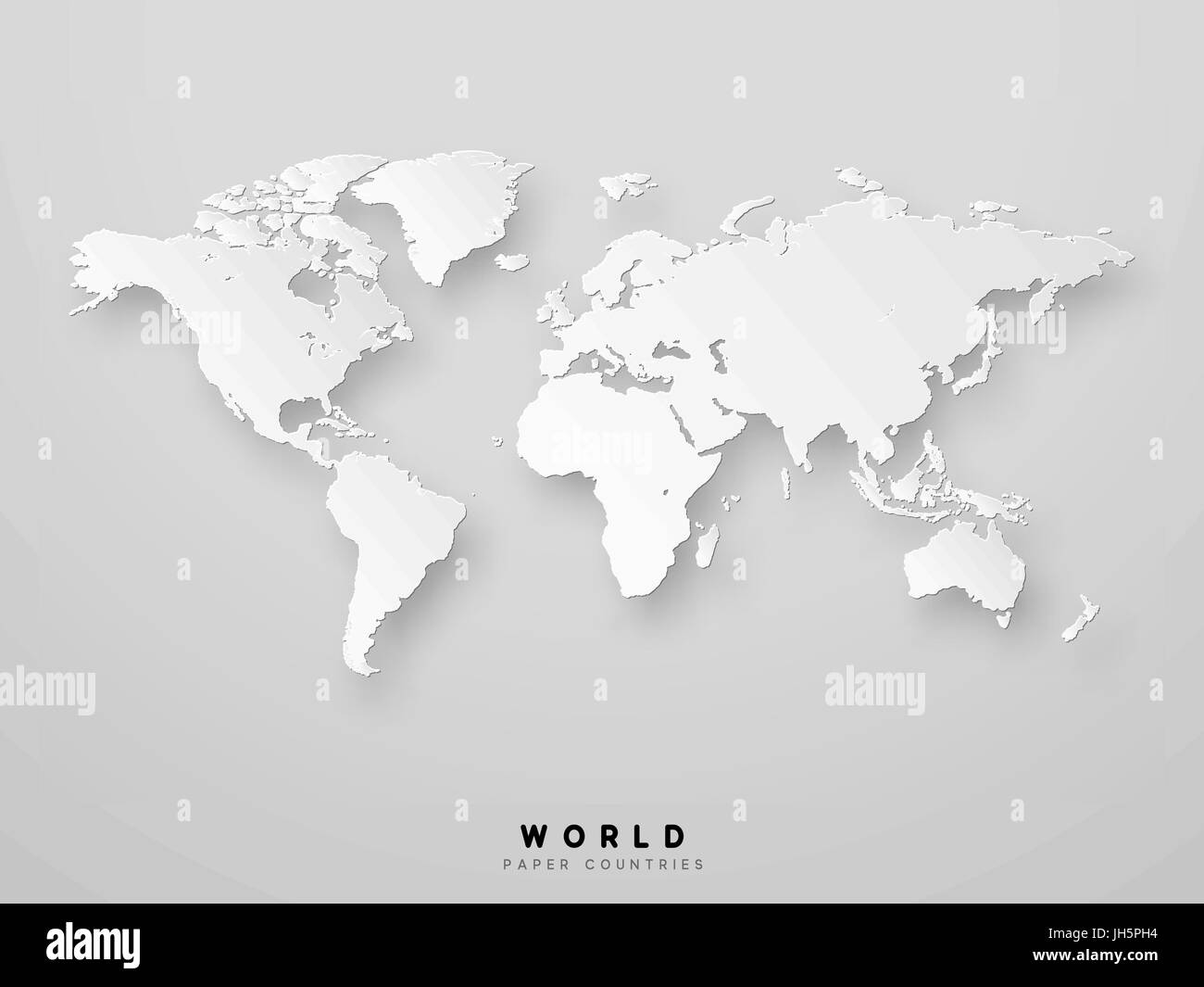 World map detailed design in white color vector illustration. 3D paper - Stock Image