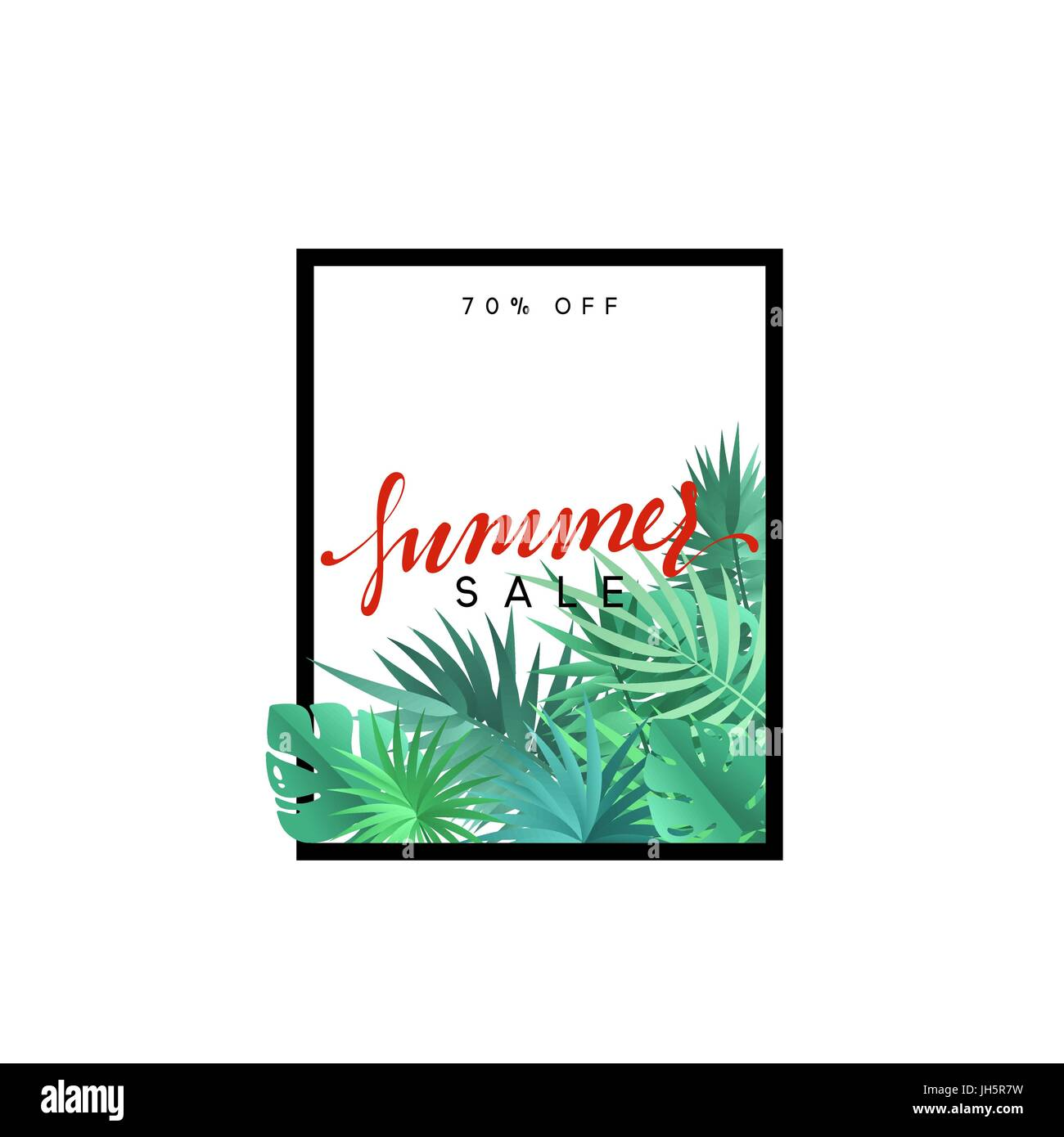 Summer design frame layout. Poster sale with palm branches. - Stock Image