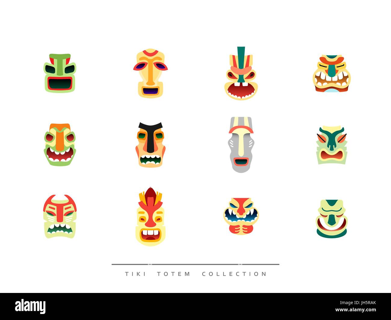 Collection Tiki Totem in flat style vector illustration - Stock Vector