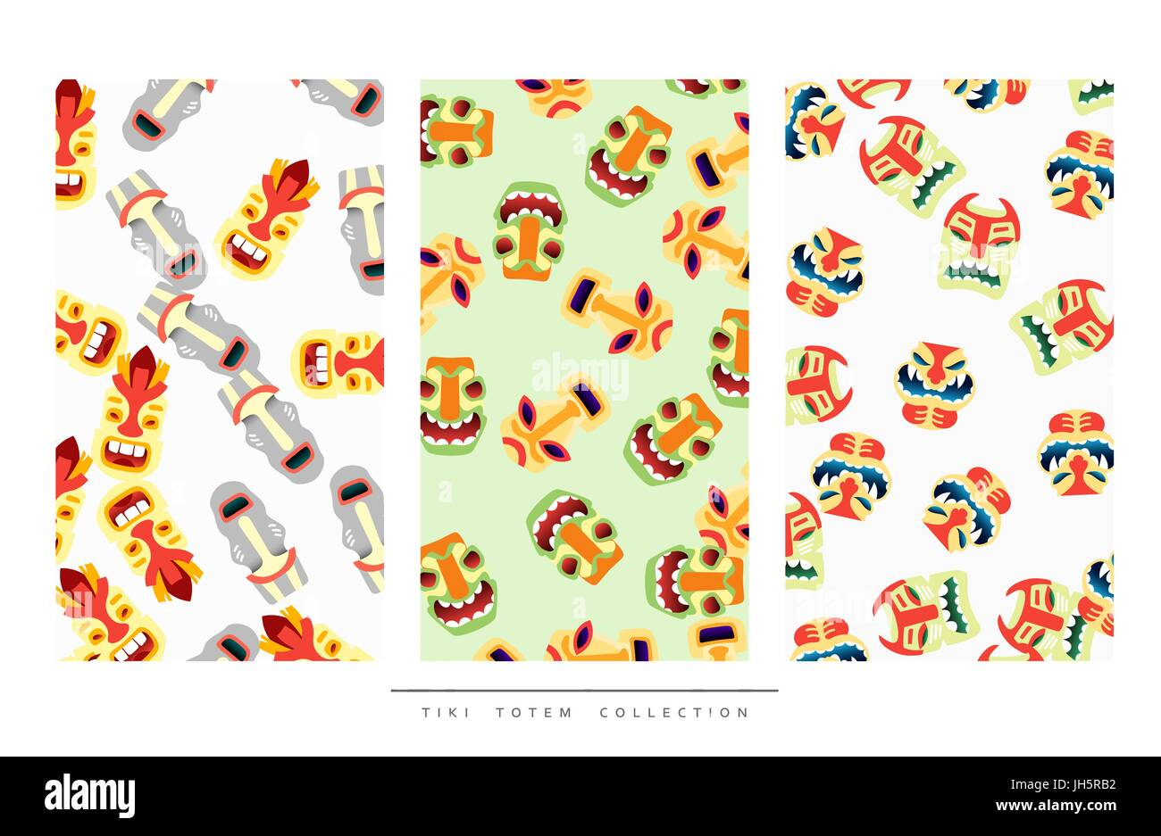 Pattern Tiki Totem in flat style vector illustration - Stock Vector