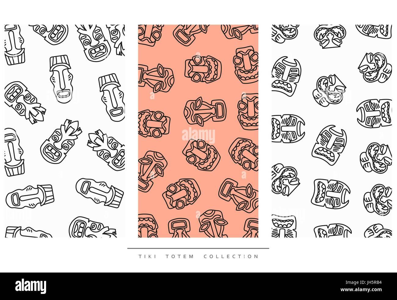 Pattern Tiki Totem in linear style vector illustration - Stock Vector